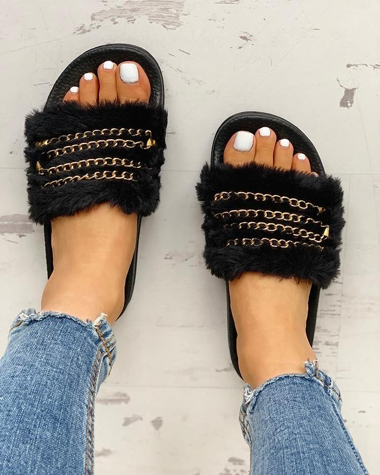 Fluffy Chain Detail Open Toe Slippers фото