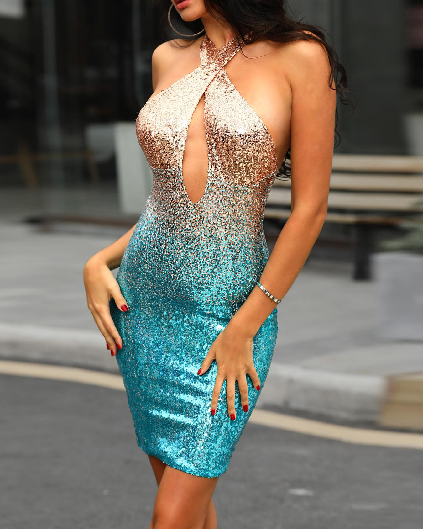 Crisscross Halter Backless Bodycon Sequin Dress фото