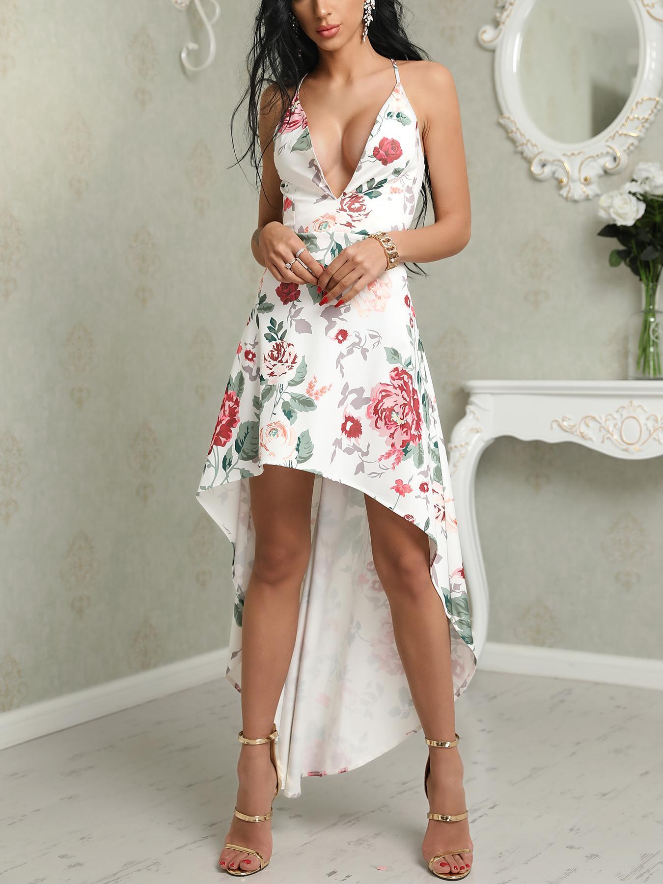 chicme / Low Cut Floral Print Dip Hem Slip Dress