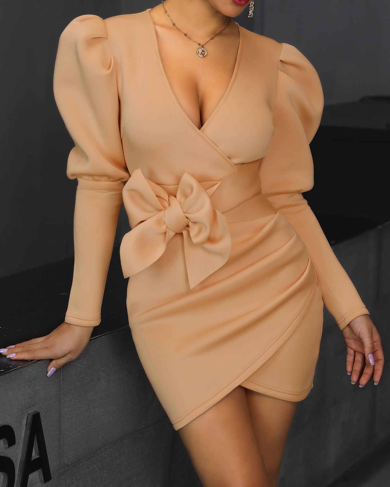 Puffed Sleeve Surplice Wrap Bodycon Dress