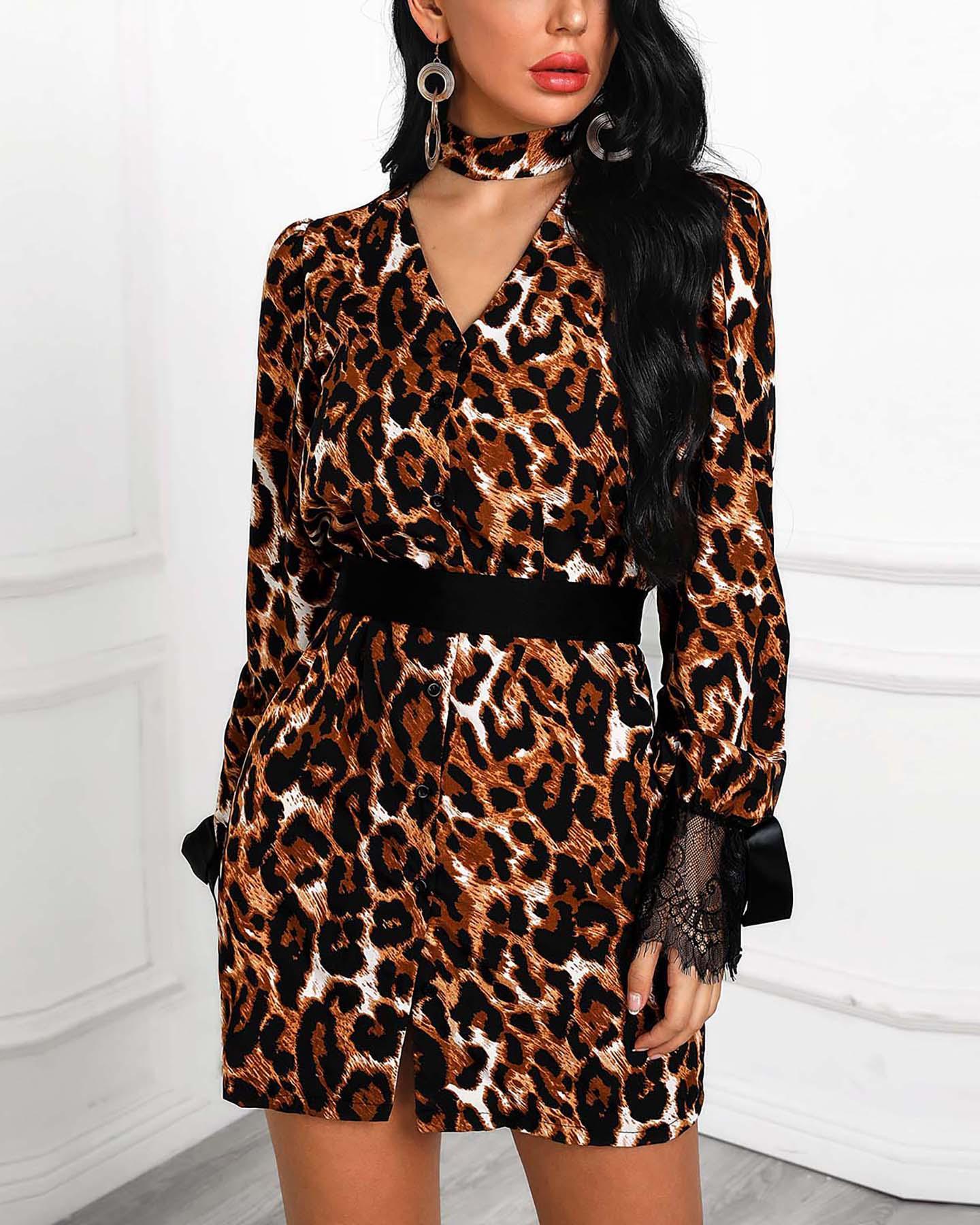 Choker V Leopard Lace Cuff Belted Dress фото