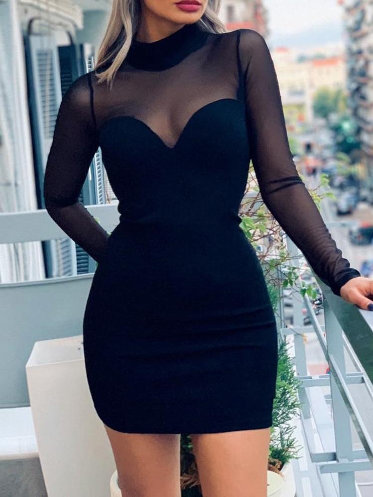 Long Sleeve Mesh Insert Bodycon Dress