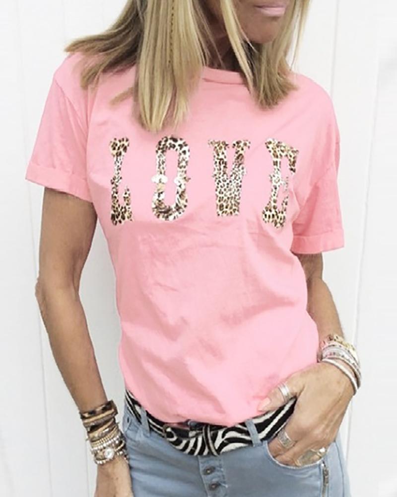 Letter Cheetah Print Short Sleeve Casual T-shirt фото