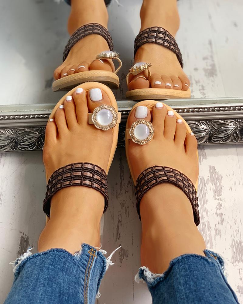 Rhinestone Embellished Toe Ring Casual Sandals фото