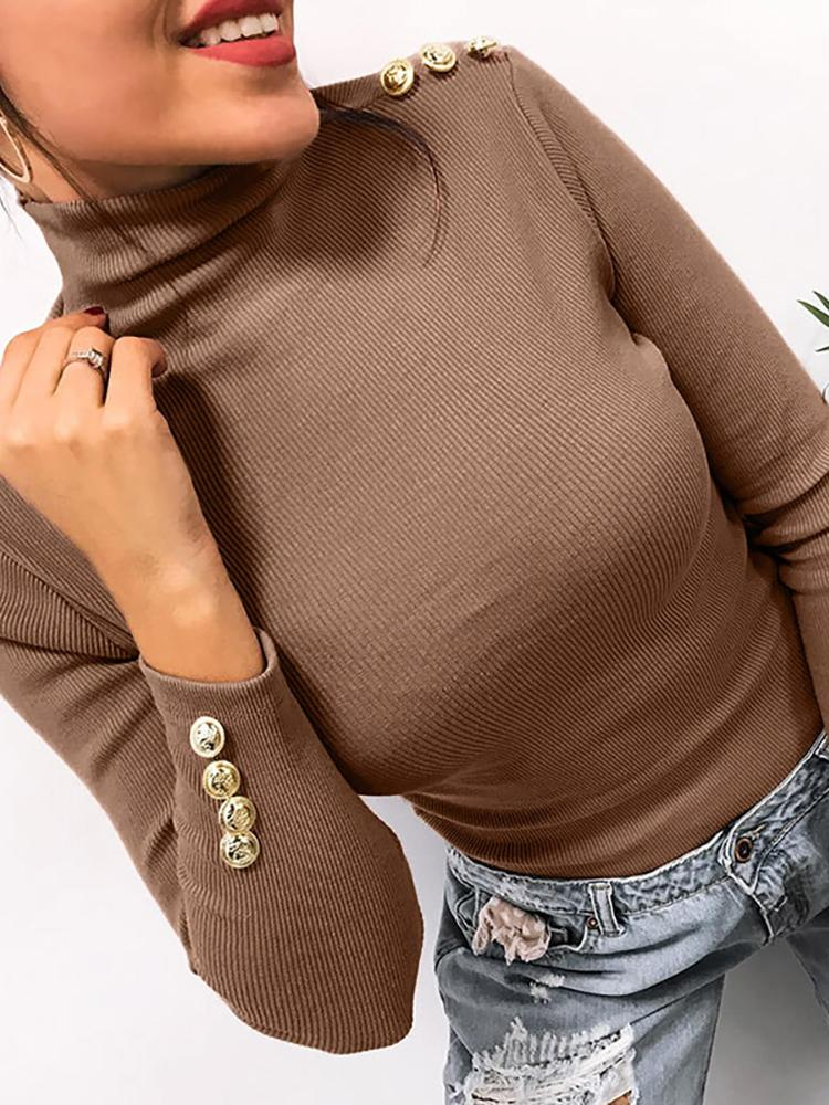 Button Detail Long Sleeve Casual Top