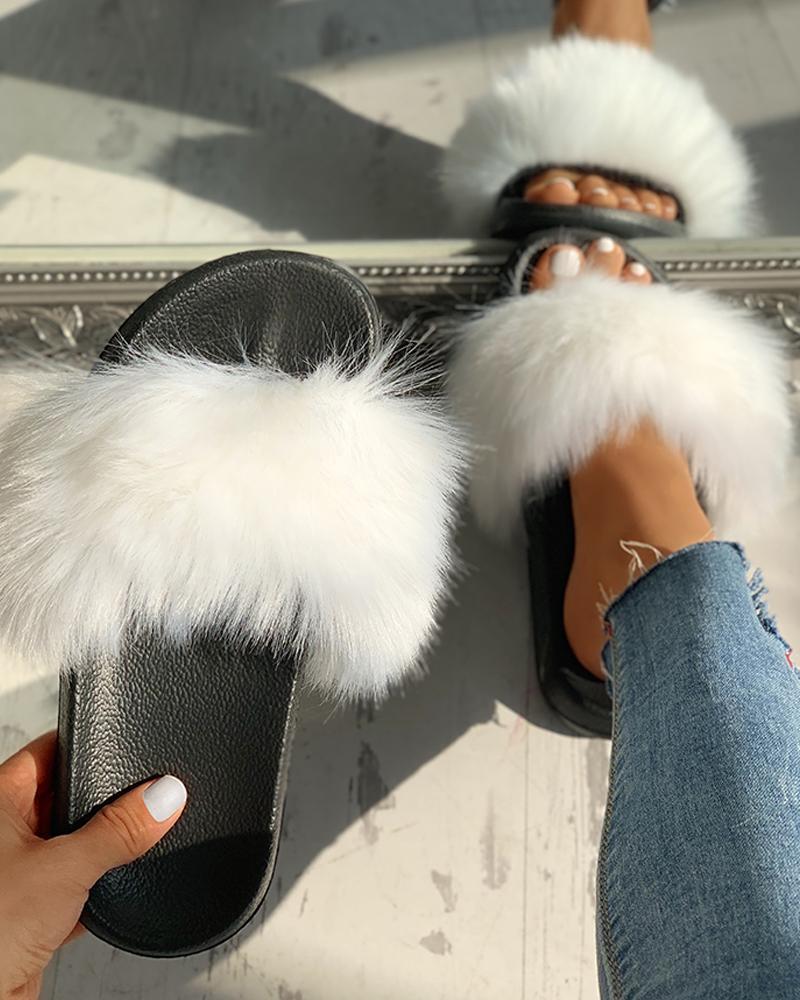 Peep Toe Fluffy Flat Slipper Sandals фото