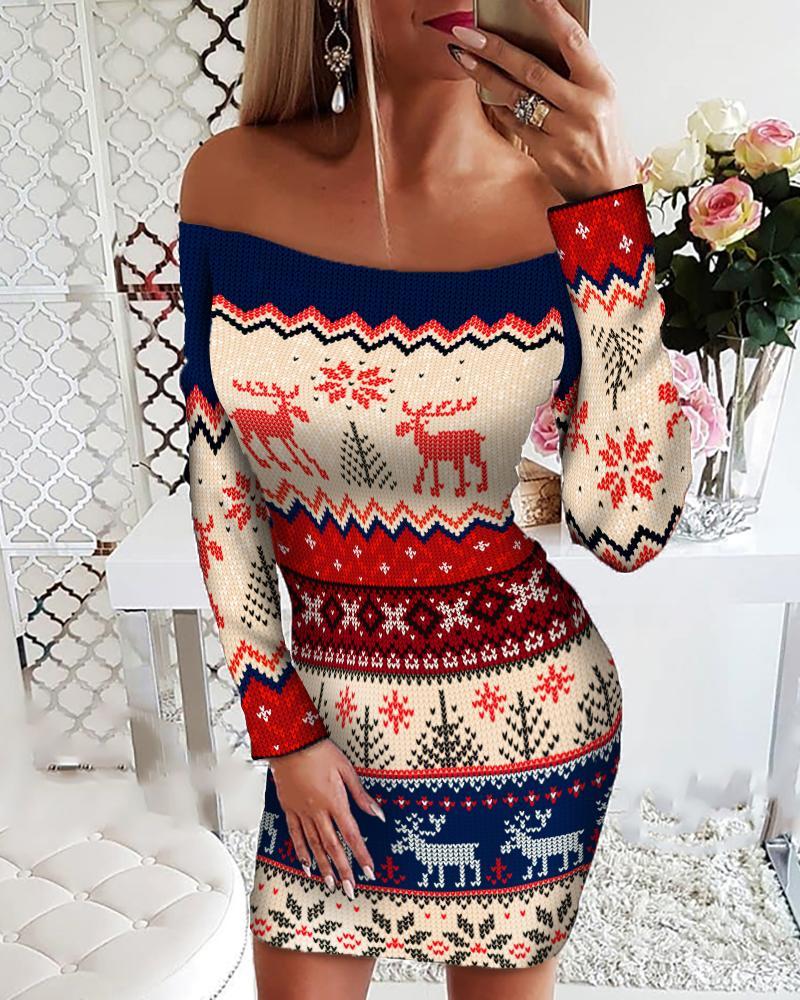 chicme / Christmas Print Off Shoulder Bodycon Dress