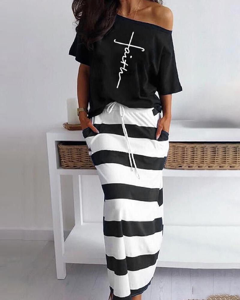 Letter Pattern Print Casual Top & Striped Maxi Skirt Set фото