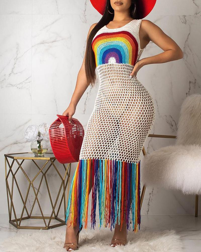 Hollow Out Fishnet Colorful Tassel Dress Cover Up фото