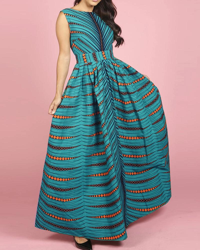 Print Backless Ruched Pleated Dress фото