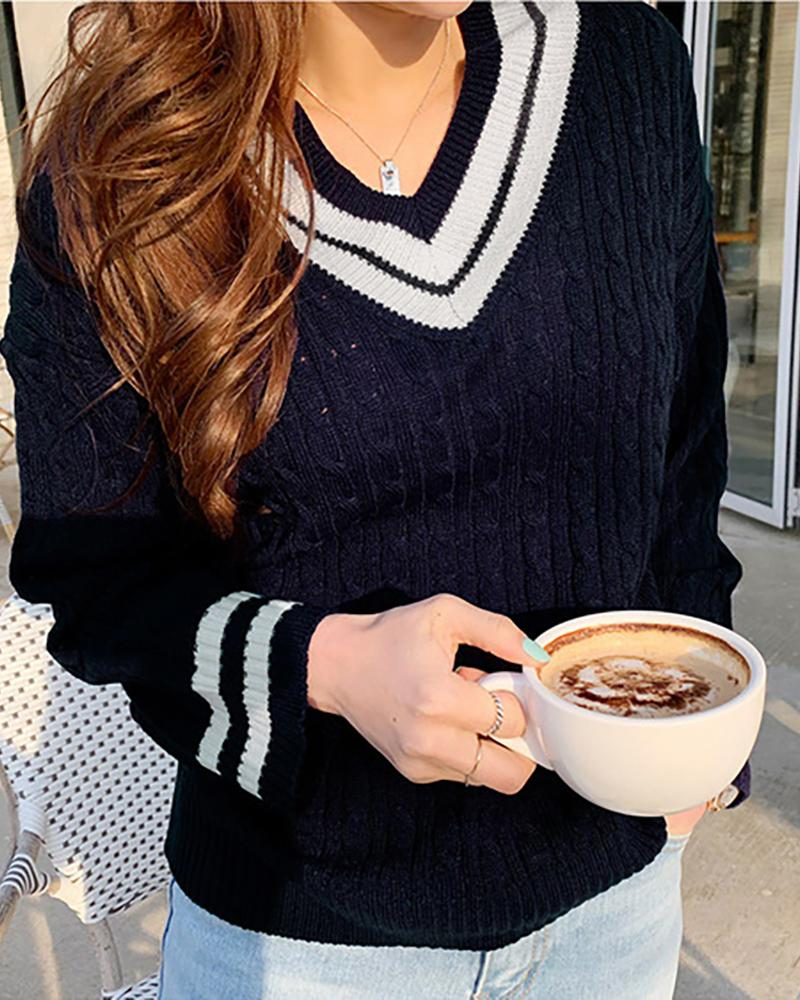 Colorblock Long Sleeve Cable Knit Sweater фото