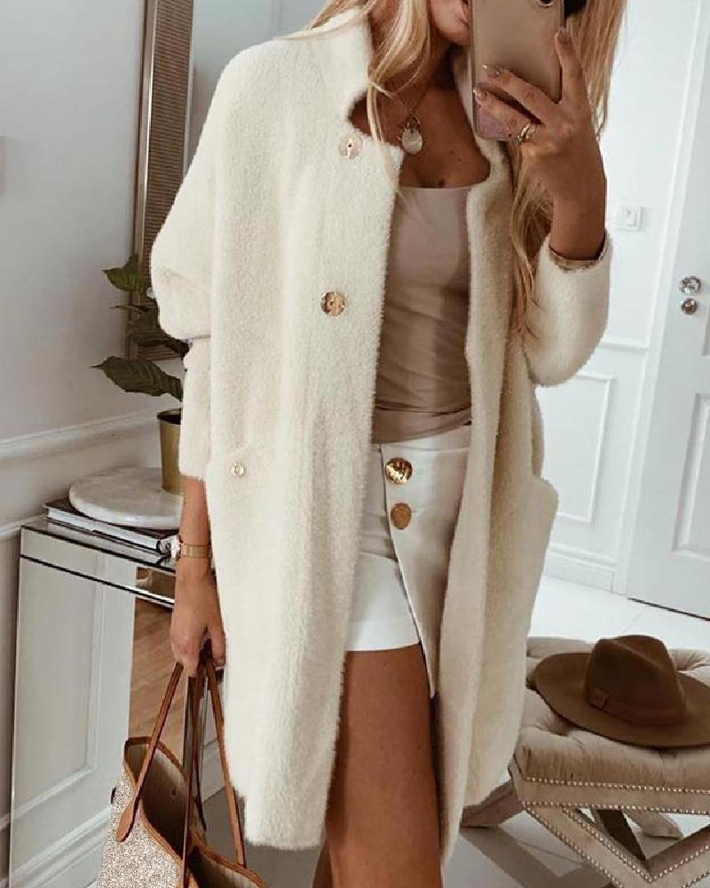 Pocket Design Open Front Buttoned Fluffy Cardigan фото