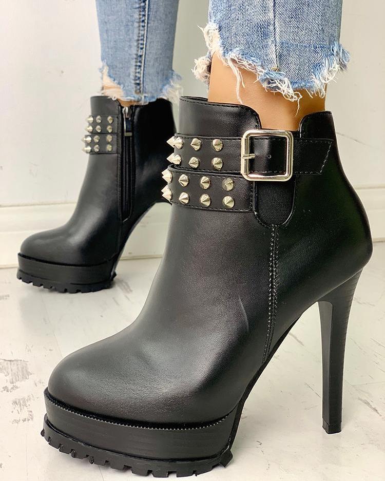 joyshoetique / Pointed Toe Rivet Embellished Thin Heeled Boots