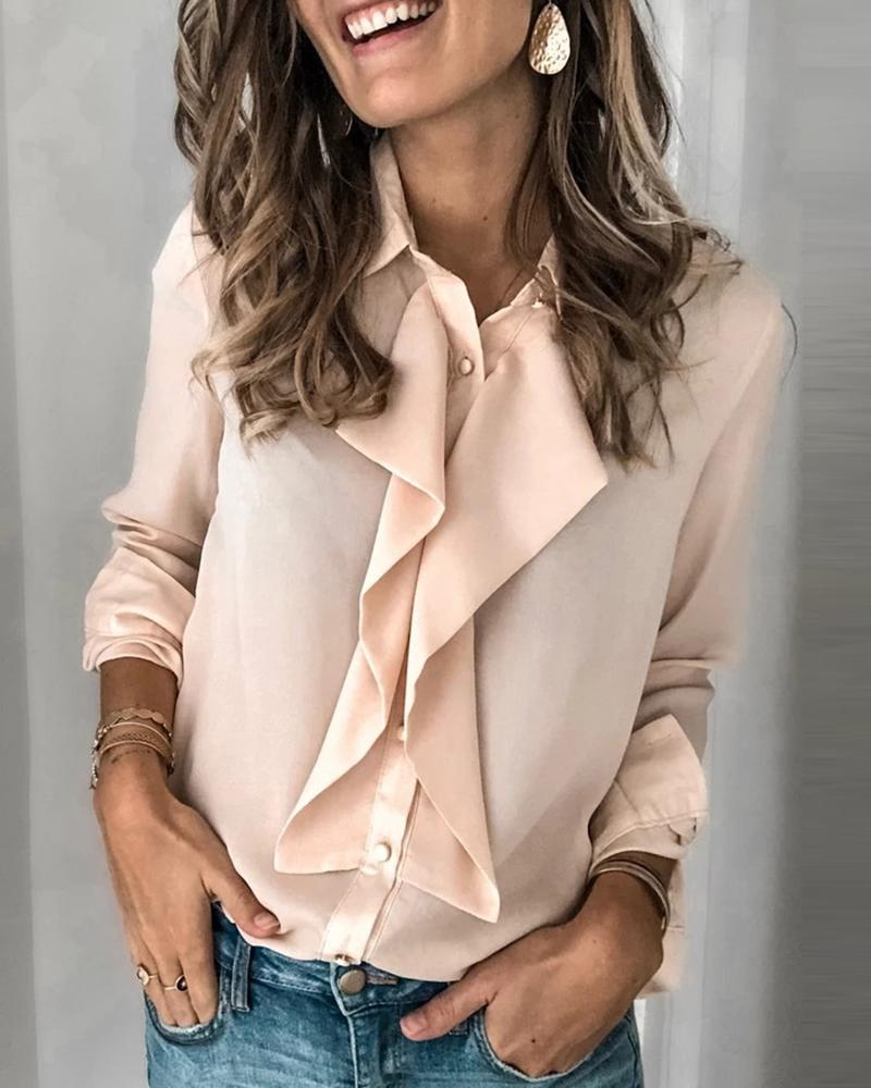 chicme / Long Sleeve Ruffles Blouse