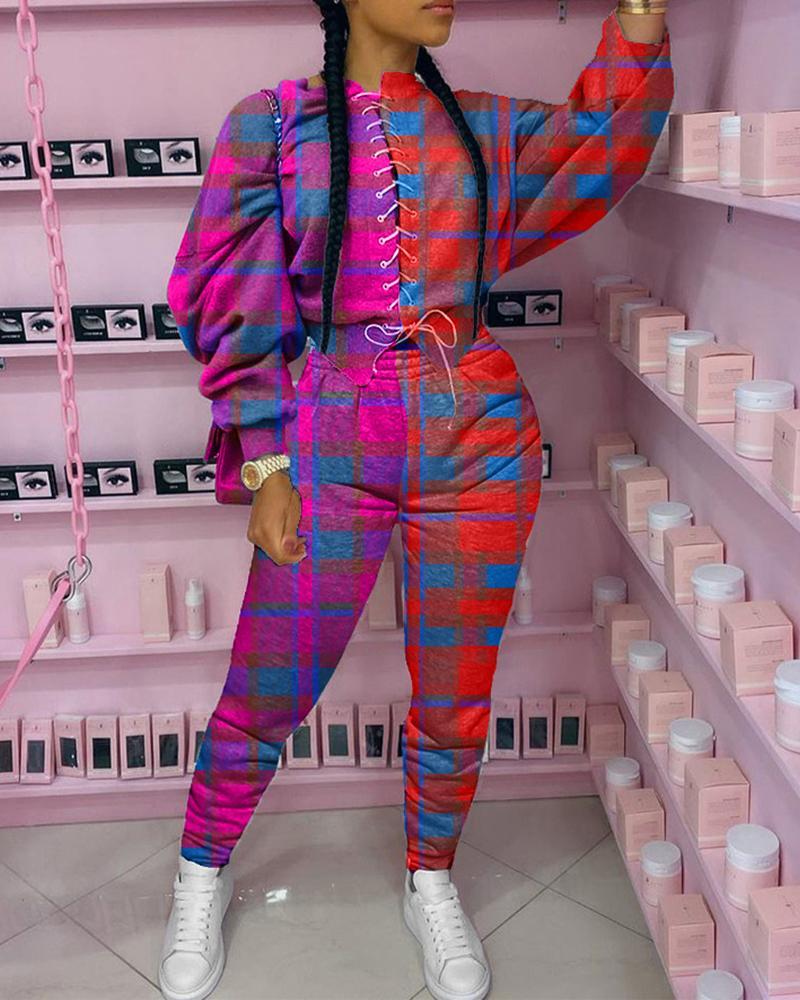chicme / Plaid Colorblock Eyelet Lace-up Top & Pants Set