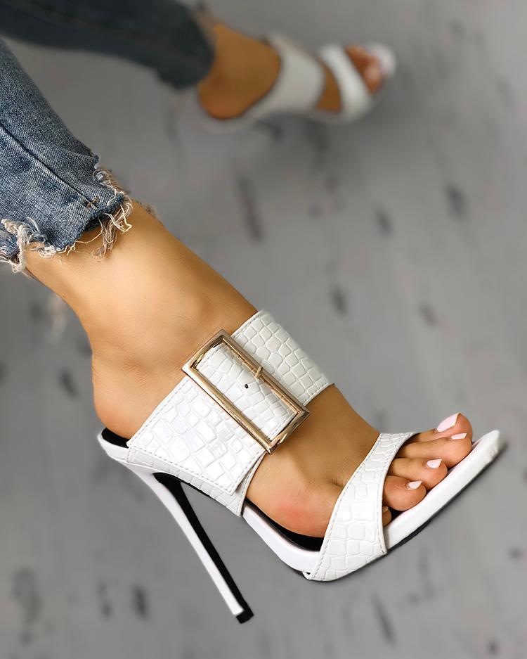 joyshoetique / Solid Snakeskin Buckled Thin Heeled Sandals