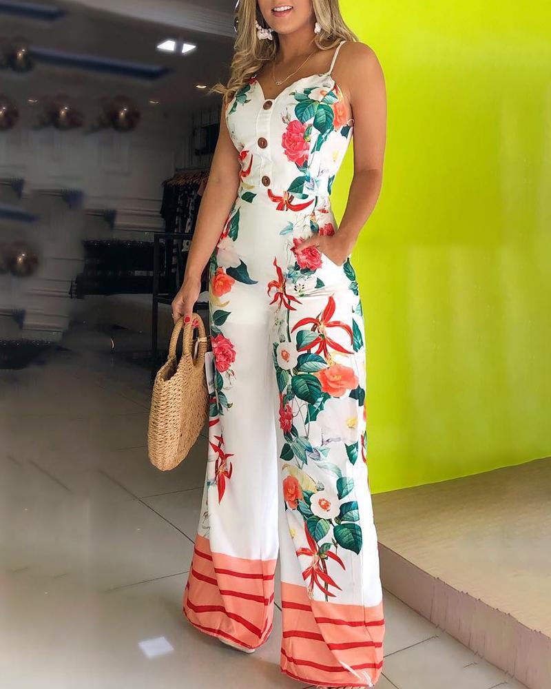 Spaghetti Strap Floral Print Jumpsuit, White