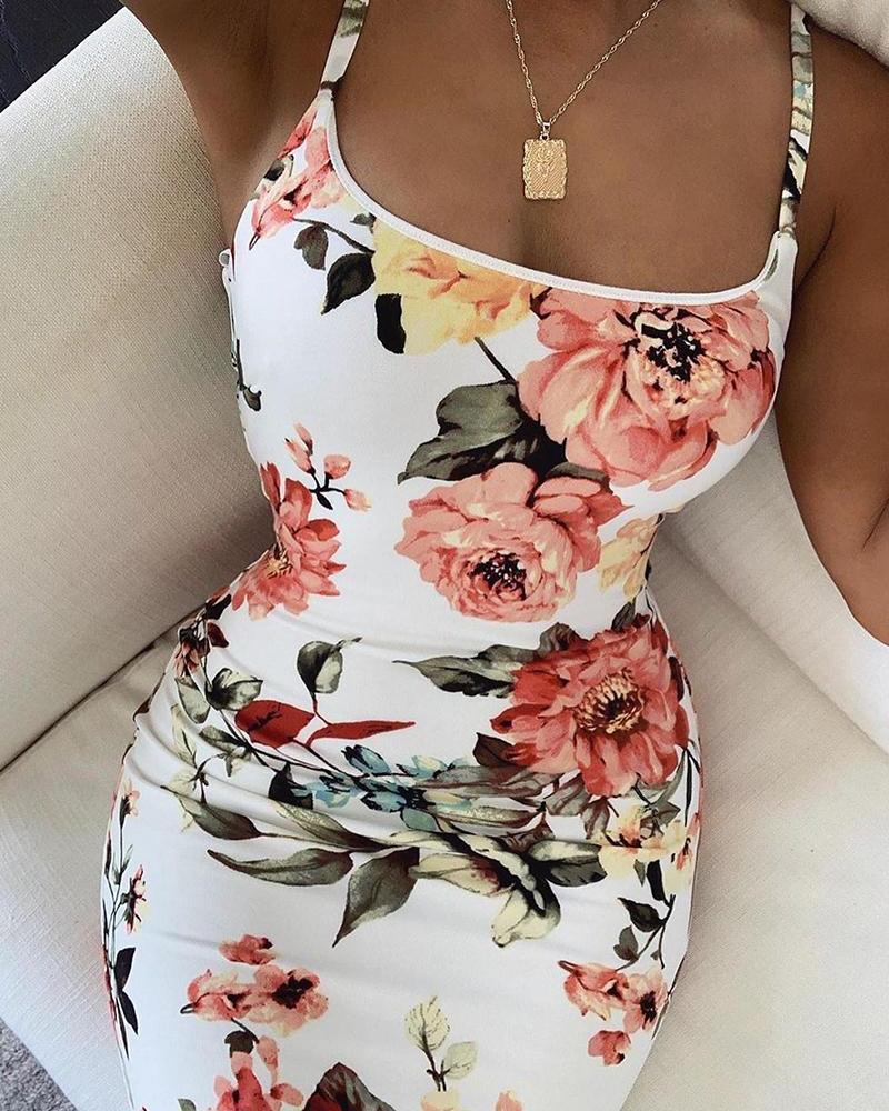 Floral Print Bodycon Cami Dress фото