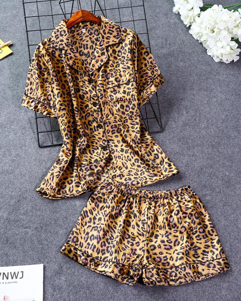 Floral Print Pocket Design Pajamas Set фото