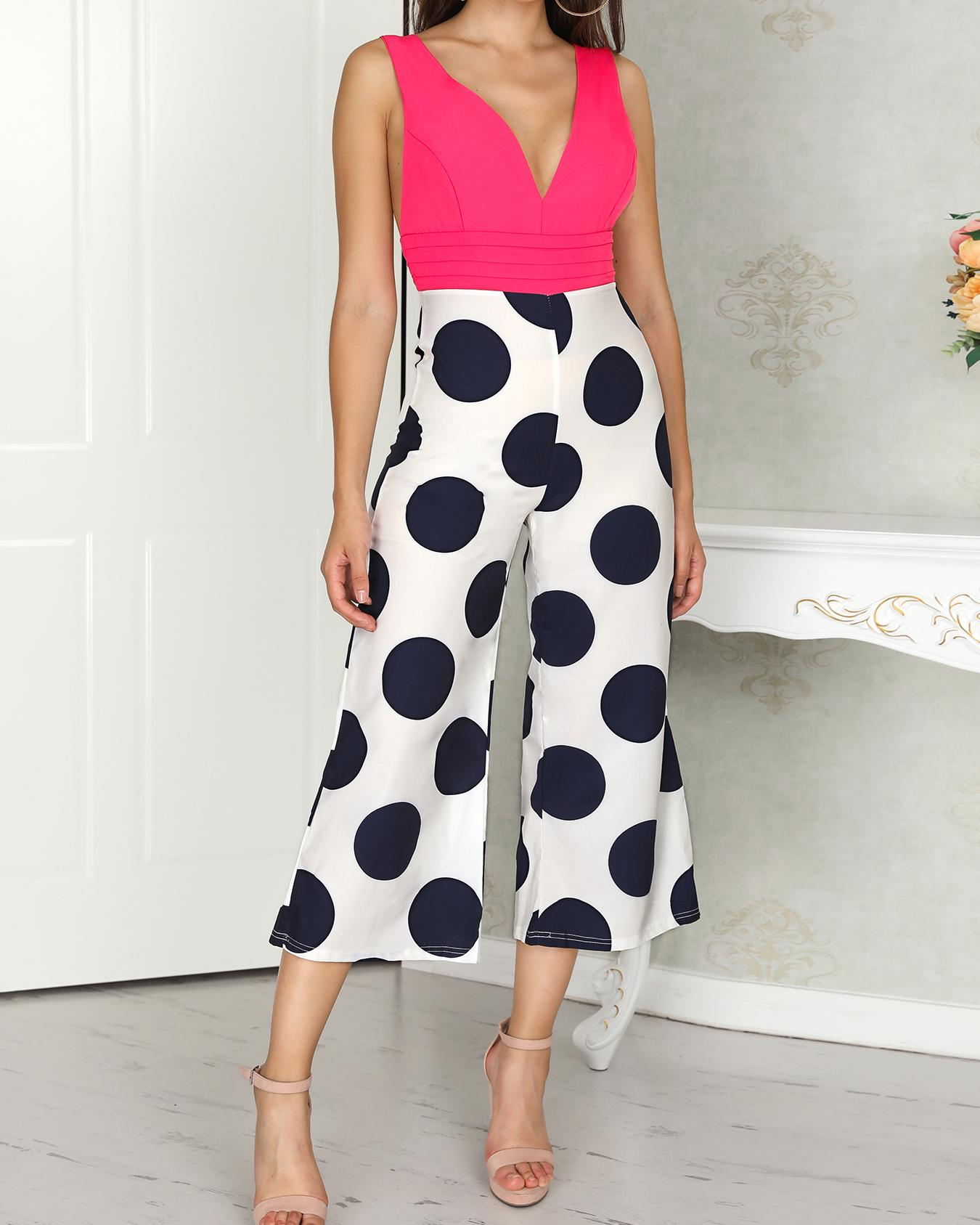 Polka Dots Splicing Plunge Wide Leg Jumpsuit