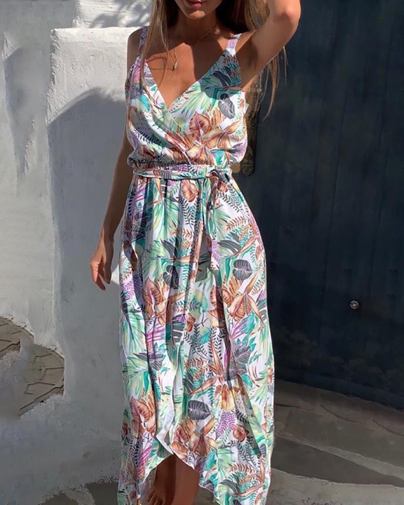 chicme / Vestido estampado tropical com estampa de bainha irregular