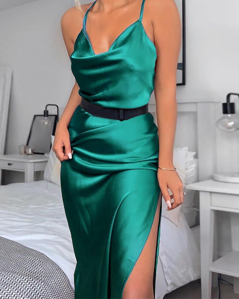 ivrose / Solid Slit Cowl Neck Cami Dress
