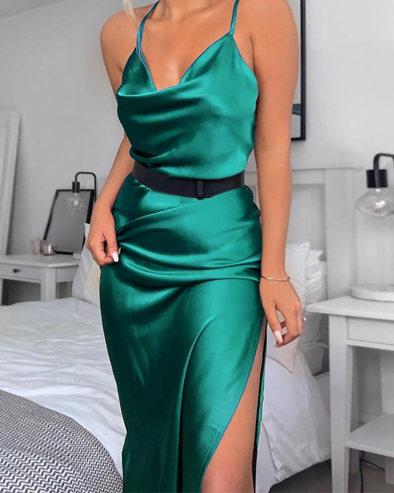 Solid Slit Cowl Neck Cami Dress фото
