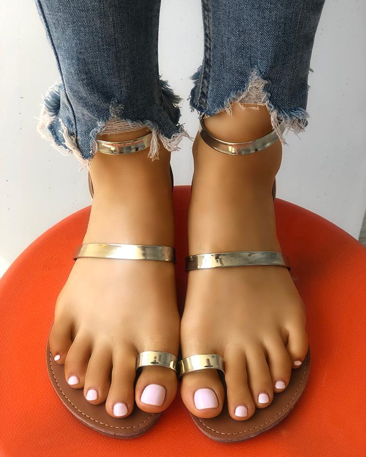 Лаконичный Сплошной Носок Кольцо Плоский Сандалии