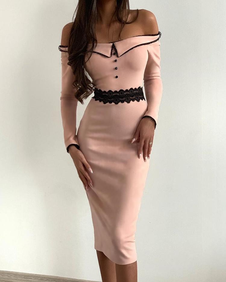Off Shoulder Lace Insert Dress