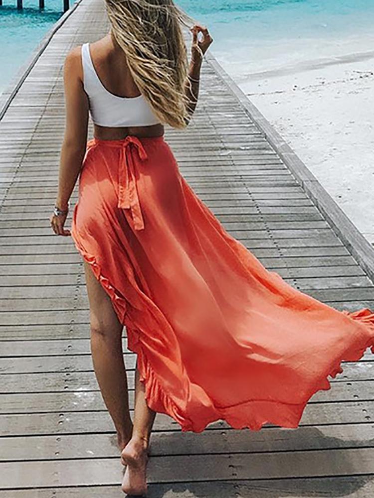 Trendy High Slit Tied Beachwear Maxi Skirt