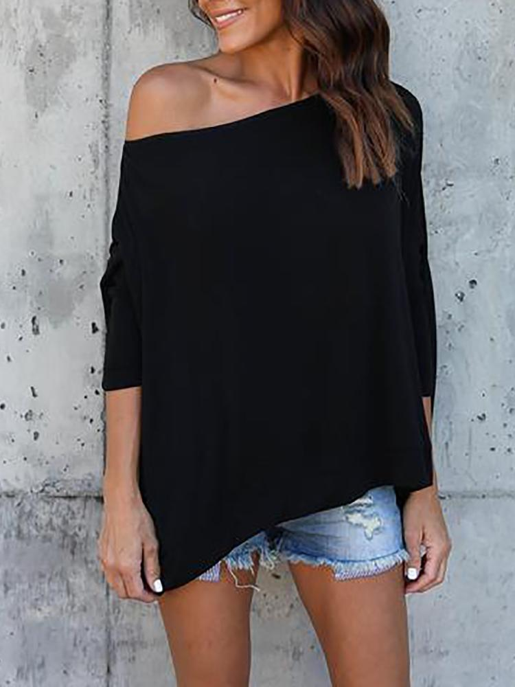 Asymmetric Solid Skew Neck Casual Blouse - Black