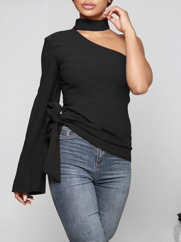 One Shoulder Side Belted Halter Casual Top