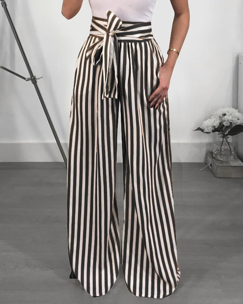 Stripes High Waist Flared Pants