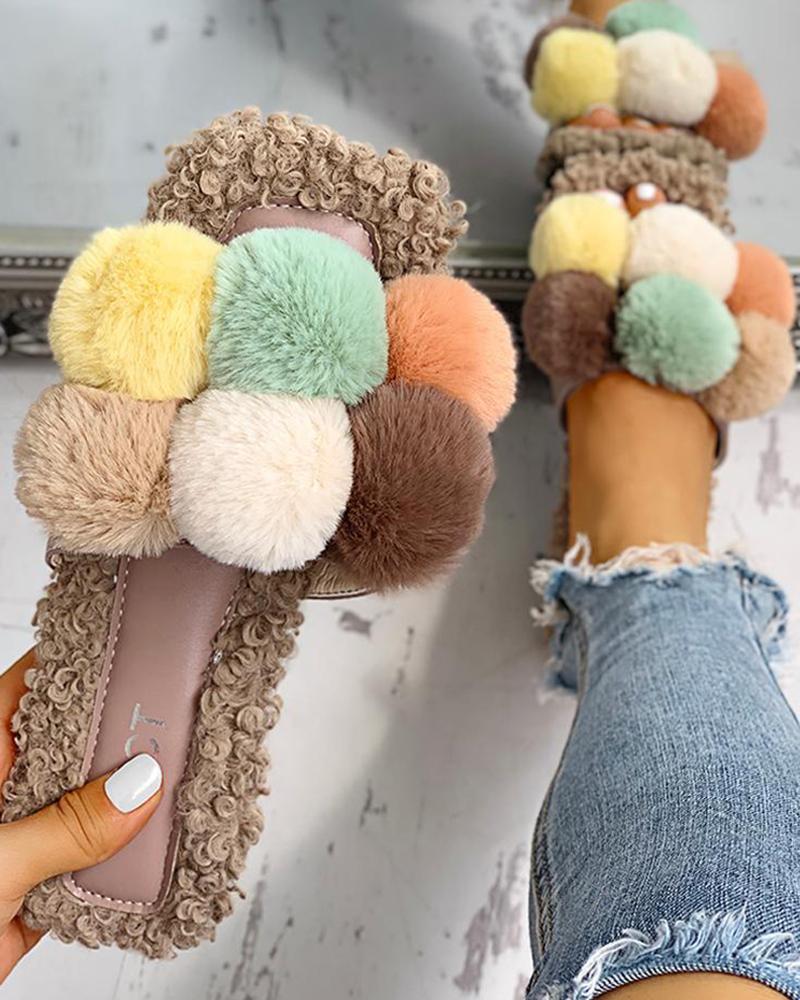 Villus Fluffy Casual Flat Sandals фото