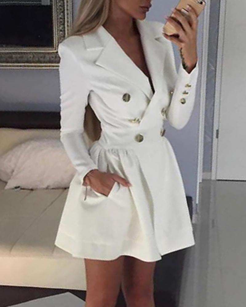 chicme / Solid Double Breasted Blazer Dress