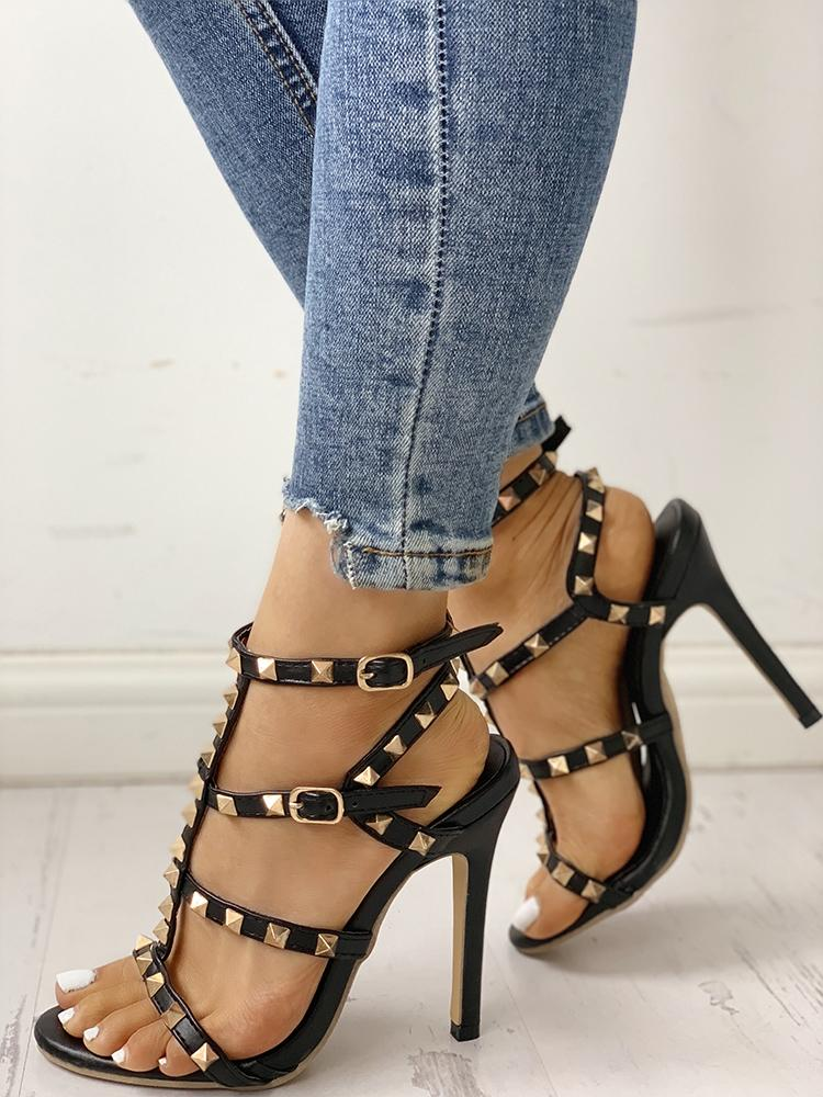 Studded Hollow Out Heeled Sandals, Black