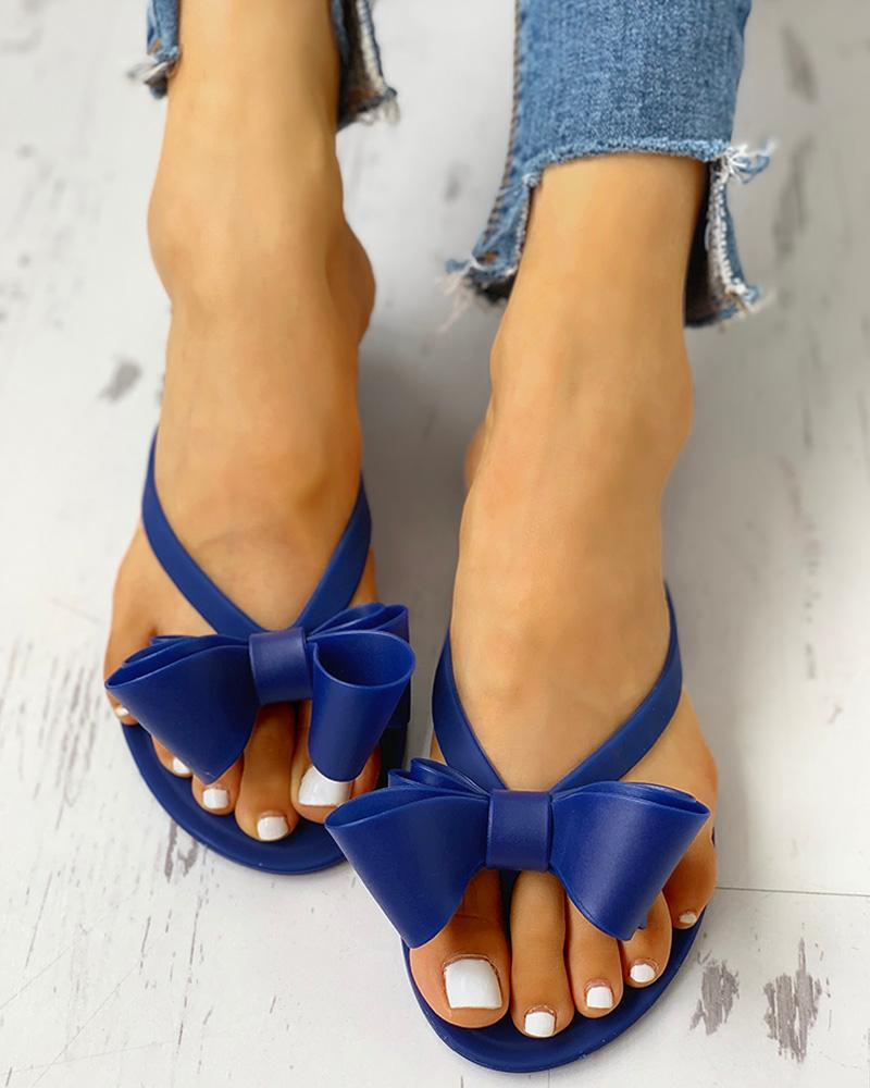 Bowknot candy colored flat slippers фото