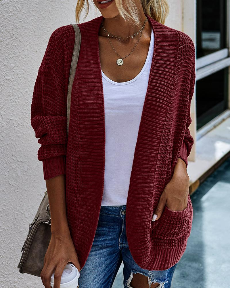 Solid Pocket Design Long Sleeve Knit Cardigan фото