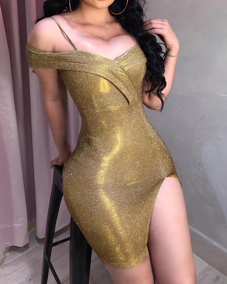 Metallic Glitter Ruched Strap Slit Dress