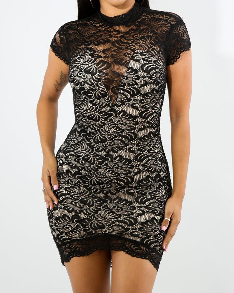 Floral Lace Overlay Backless Mini Sheath Dress