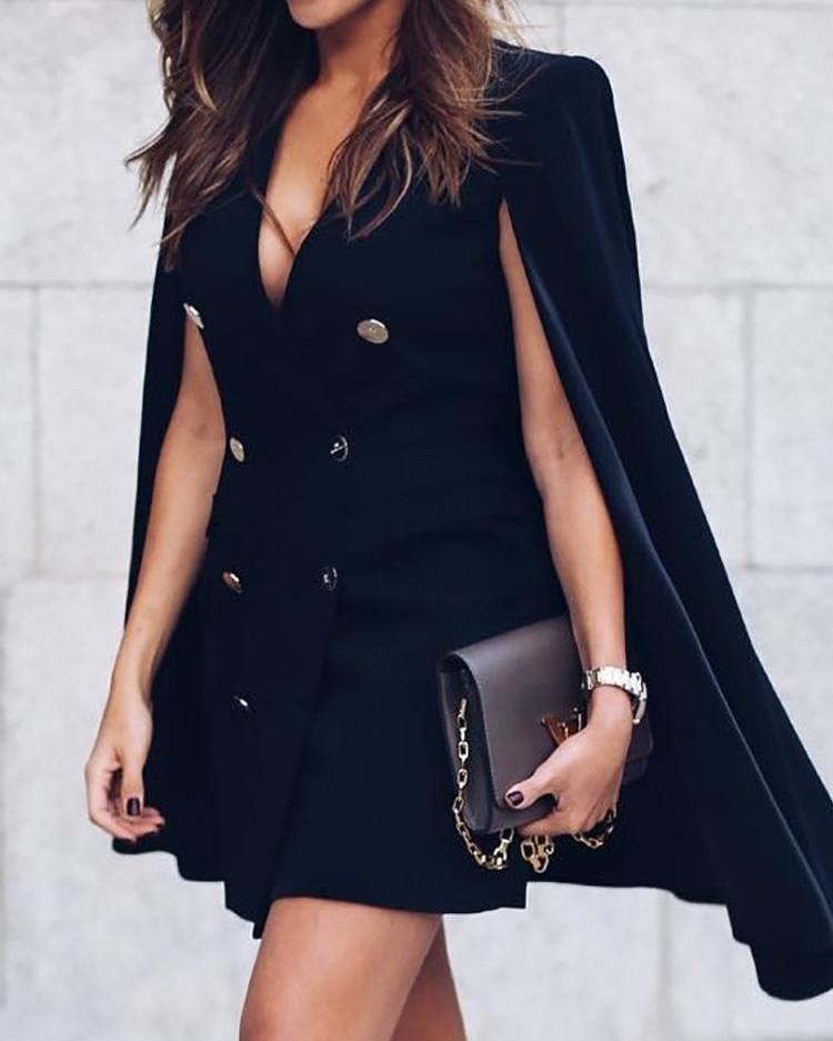 Double-Breasted Cloak Design Blazer Dress фото
