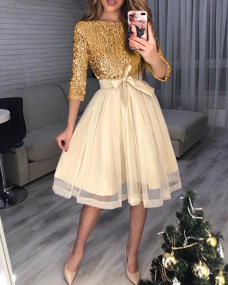 joyshoetique / Sequins Tight Waist Layered Mesh Dress