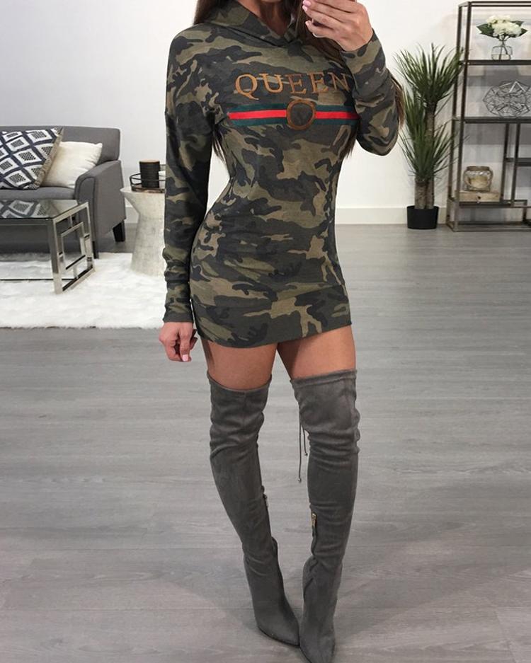Stylish Camouflage Print Casual Hoodie Dress фото