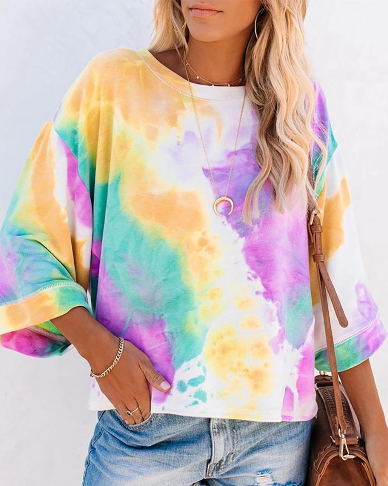 joyshoetique / Tie Dye Print Gradient Color Casual T-shirt