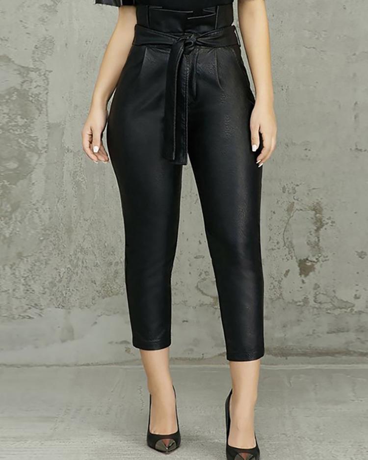chicme / Paperbag Cintura alta con cinturón PU pantalones