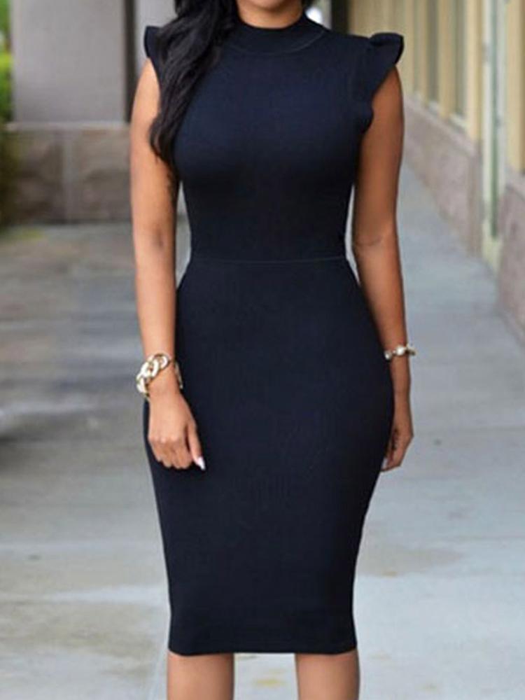 Women Asymmetric Shoulder Hollow Out Back Sexy Bodycon Party Dress