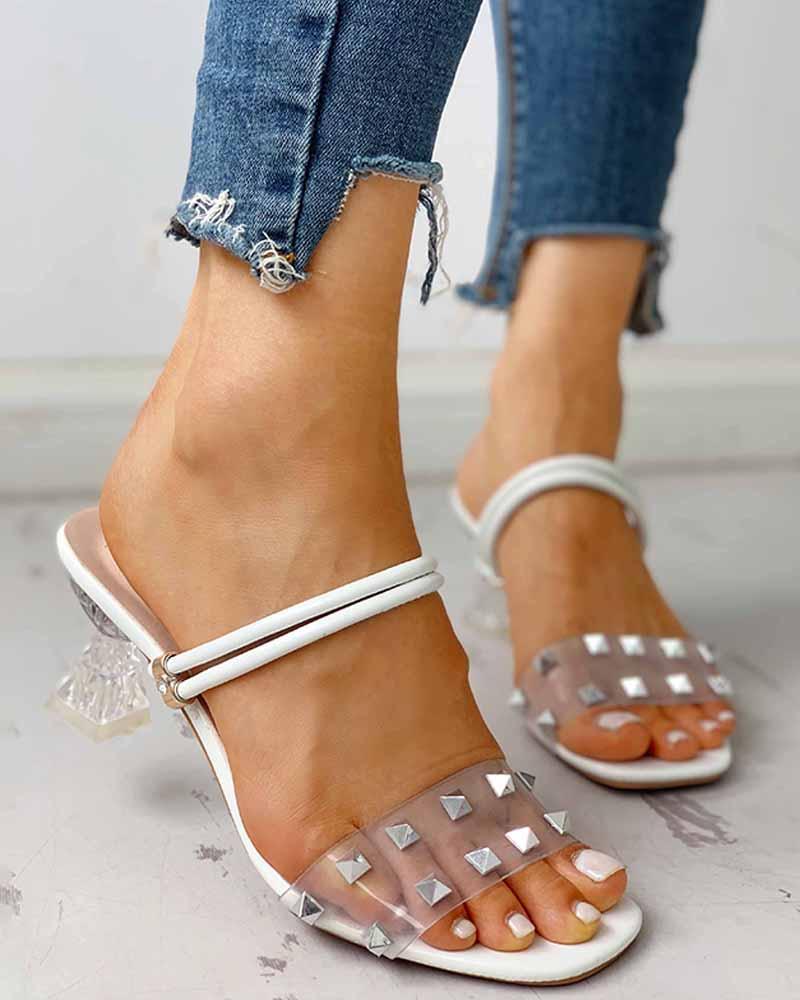 boutiquefeel / Sandalias de tiras transparentes con diseño de remache doble