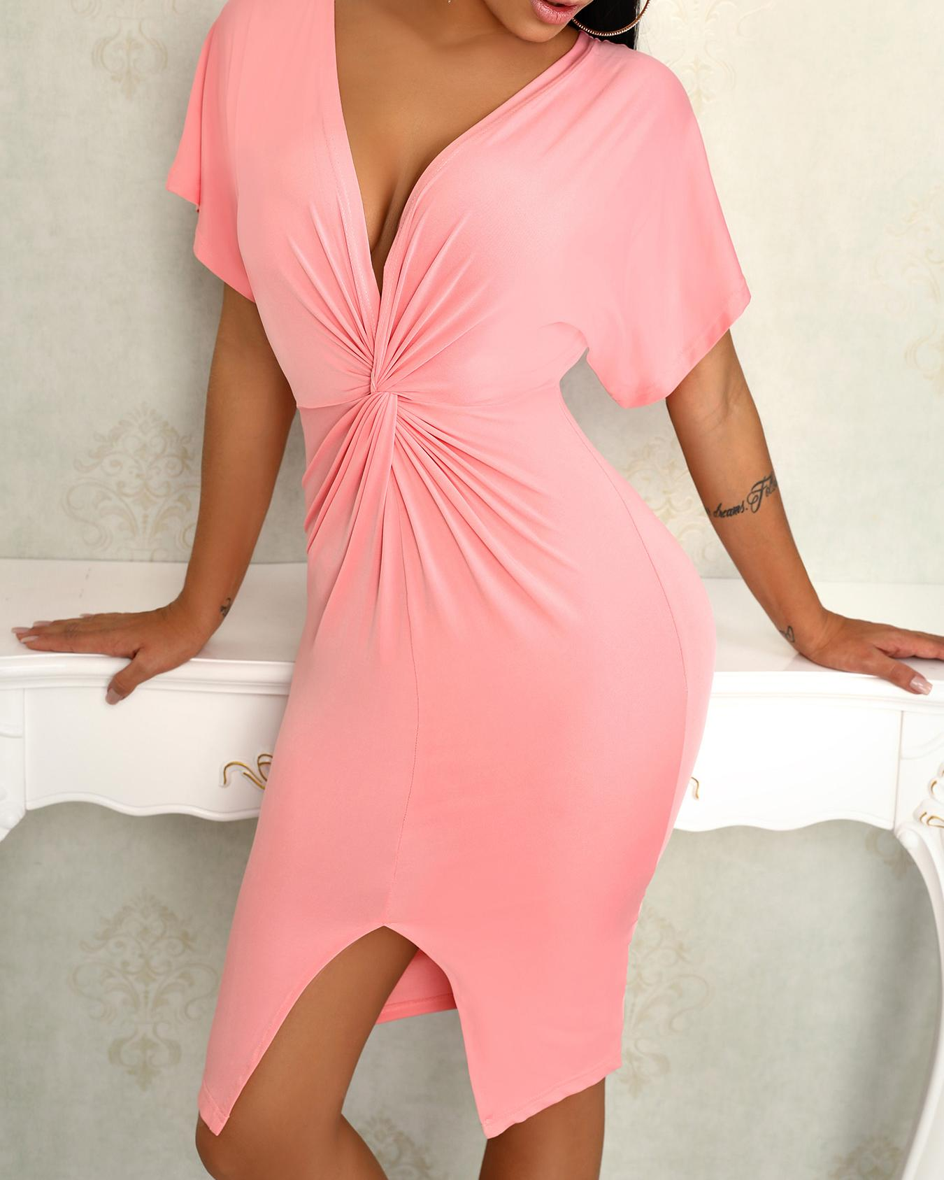 Solid Plunge Twisted Front Slit Bodycon Dress