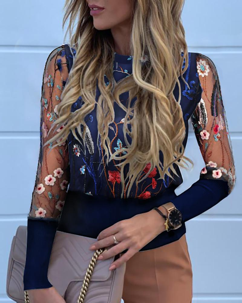 Floral Embroidery Sheer Mesh Blouse фото