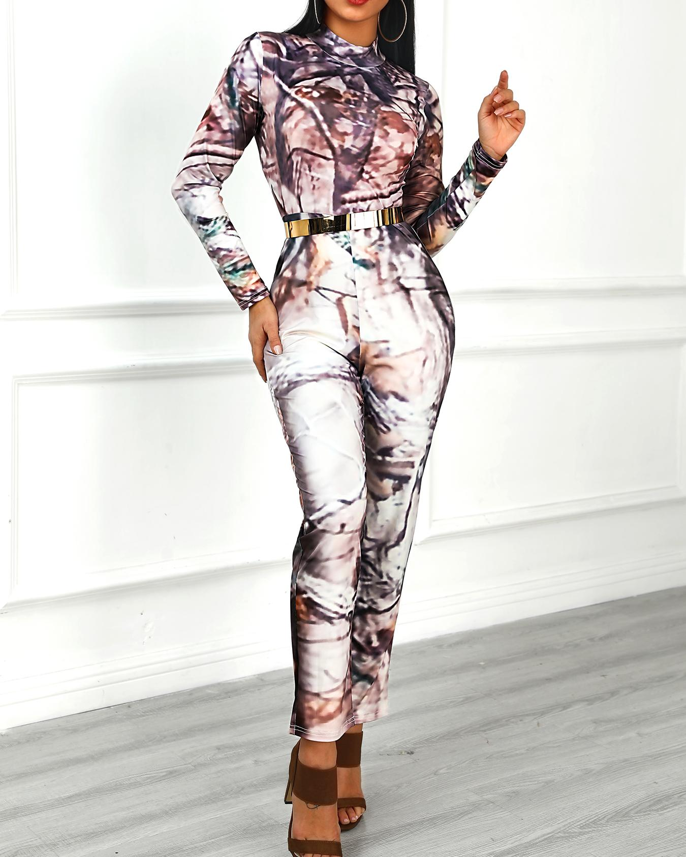 Abstract Print Mock Neck Long Sleeve Jumpsuit